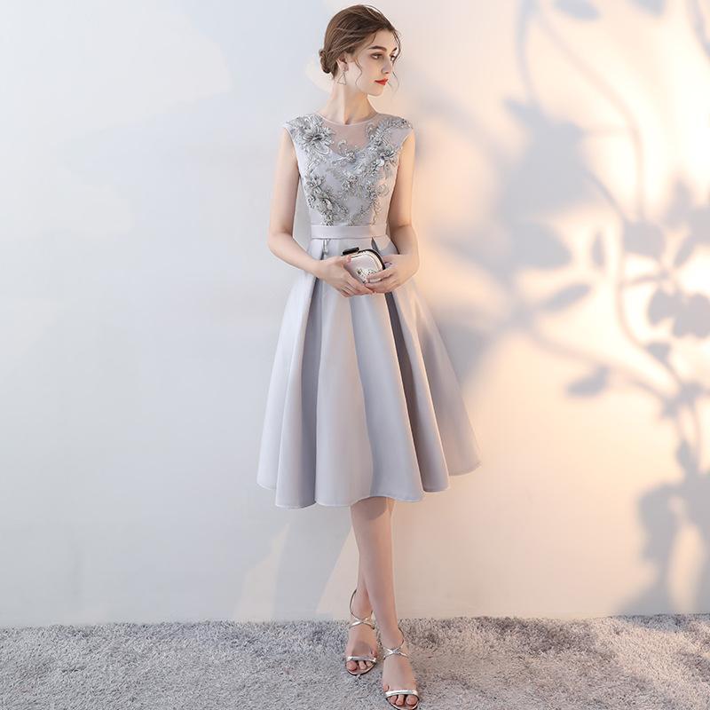 礼服女2019新款韩版灰色显瘦小礼服连衣裙聚会气质优雅宴会晚礼服