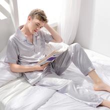夏季新款男士睡衣两件套柔软丝绸短袖上下套装家居服大码一件批发