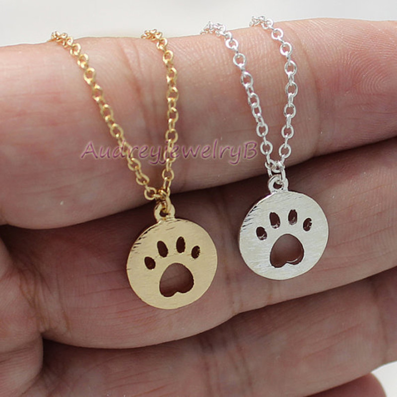 Hollow cat claw necklace copper chain geometric round cat and dog footprints clavicle chain wholesale NHCU206473