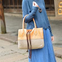 潮流帮 2016冬季新款编织配牛皮 手提女包 一件代发
