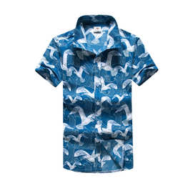 天普伦2017年夏季新款男士沙滩印花衬衫外贸休闲短袖衬衫男ST35#