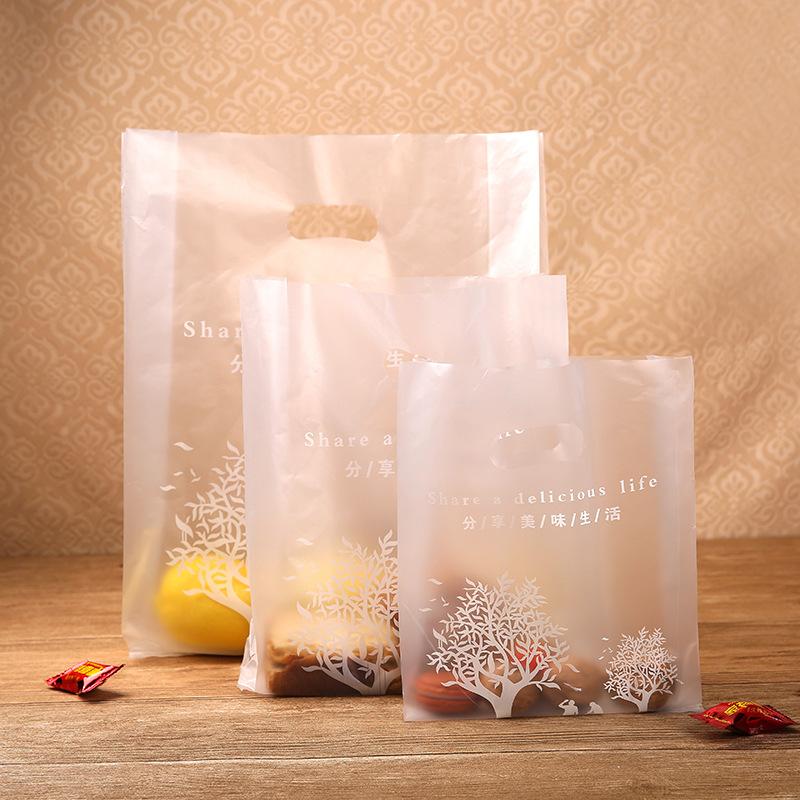 蛋糕甜品饼干外卖打包袋 食品级塑料手提袋加厚面包袋子100个/把