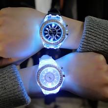 夜光发光个性水钻led原宿韩国时尚潮流男女学生情侣果冻石英手表