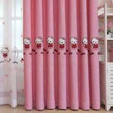 厂家直销粉色卧室落地窗儿童kt猫卡通丝绒麻遮光绣花窗帘布窗纱