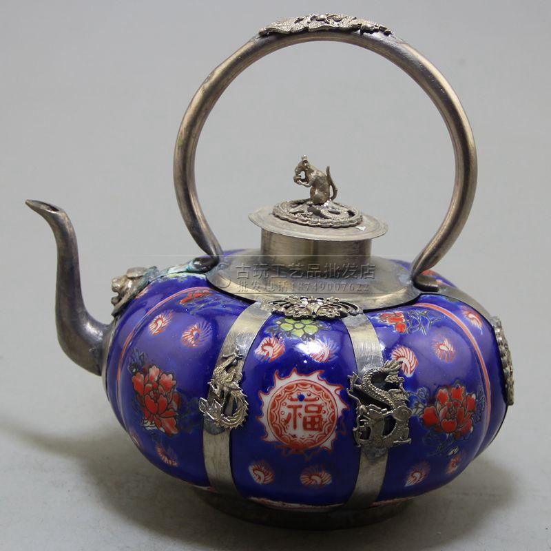精美复古做旧工艺品厂家直销批发收藏蓝色瓷包银酒壶摆件