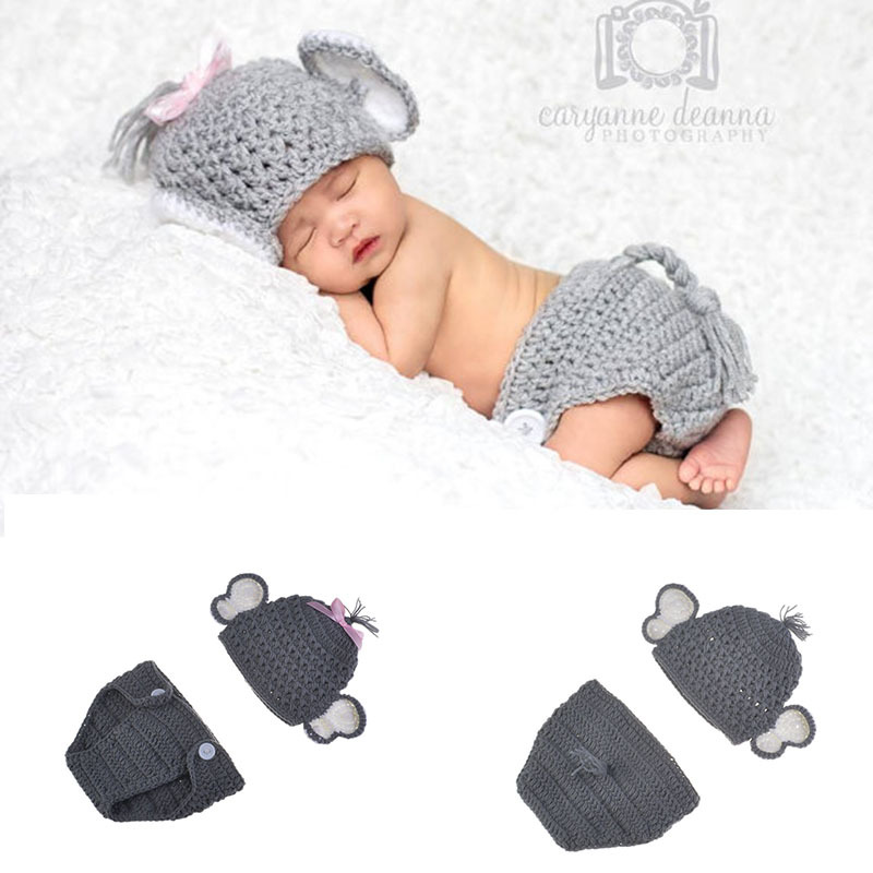 Baby Elephant Shape Photography Props Cute Newborn Boy And Girl Crochet  Outfit Infant Photo Props Doll Accessories Baby Hat BP080 Toy Baby Doll