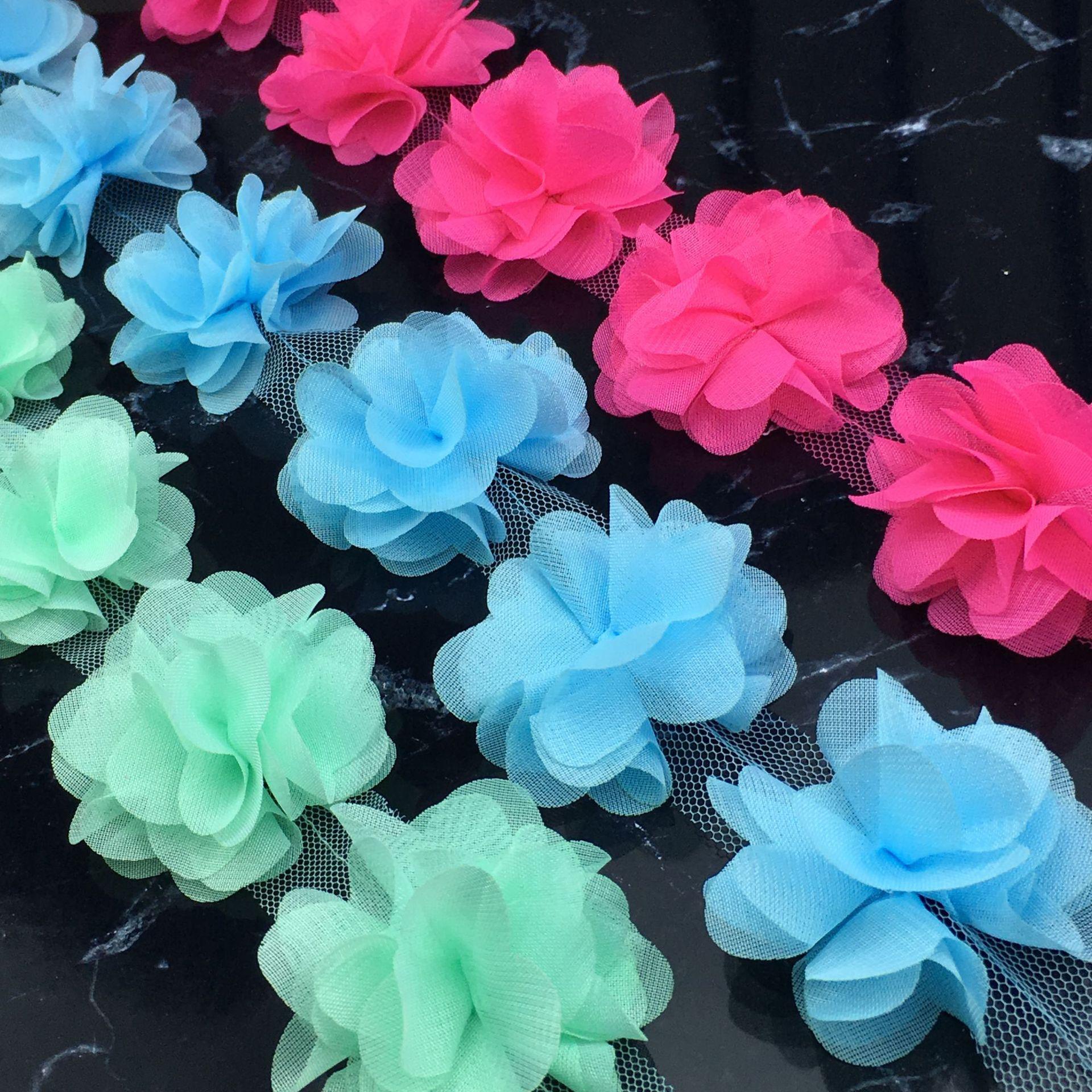 厂家直销 雪纺花边立体花朵 多色现货 diy手工服装辅料配饰