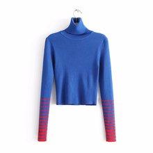 RRD01219  18新款欧美时尚条纹袖口撞色修身高领短款针织衫毛衣女