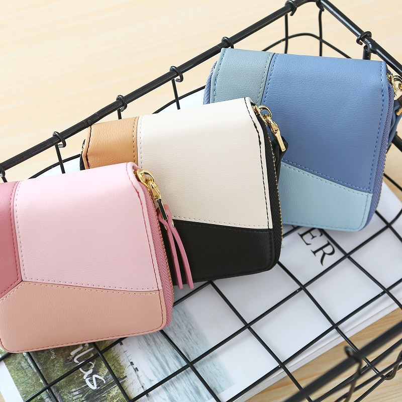Korean version of the color square simple geometric pattern two fold zipper wallet NHNI141545