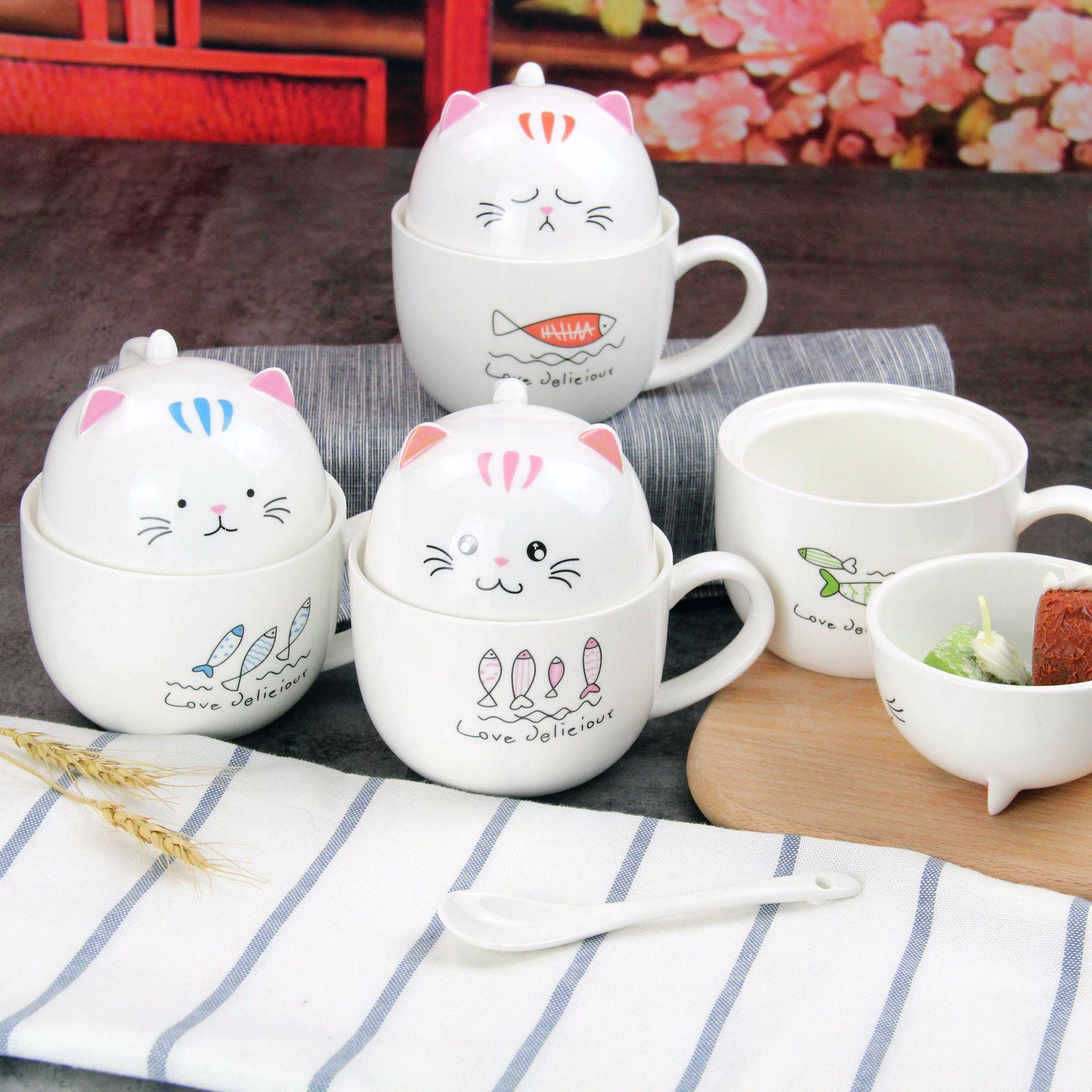 猫咪水杯陶瓷办公杯杯子创意可爱马克杯带盖日用百货定制LOGO