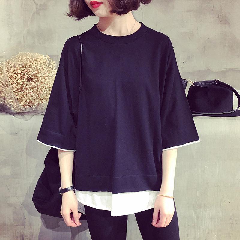 2020夏装新款韩版女装大码宽松纯色假两件短袖T恤女式上衣小衫女
