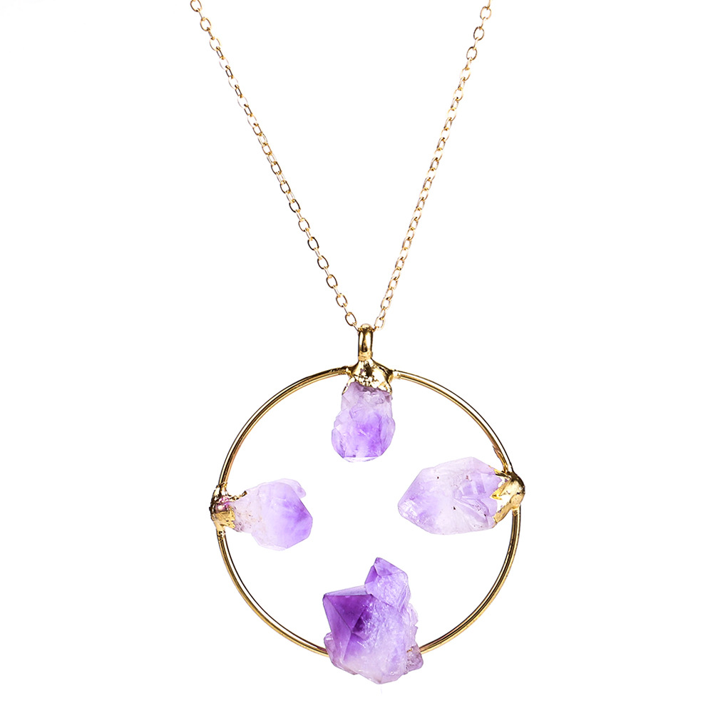 Exotic alloy plating necklace (purple)NHJE0434-purple
