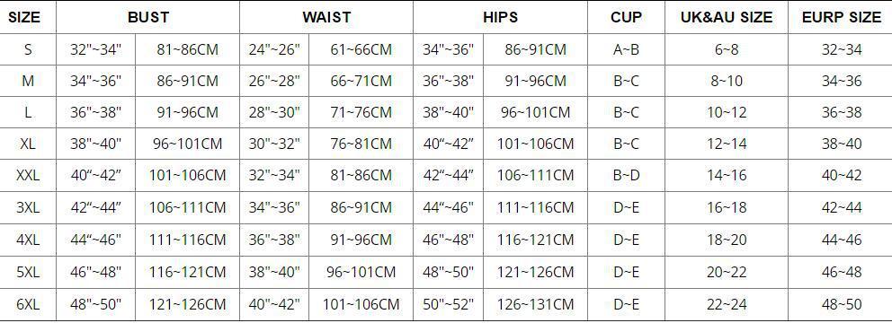 S-6XL尺码表
