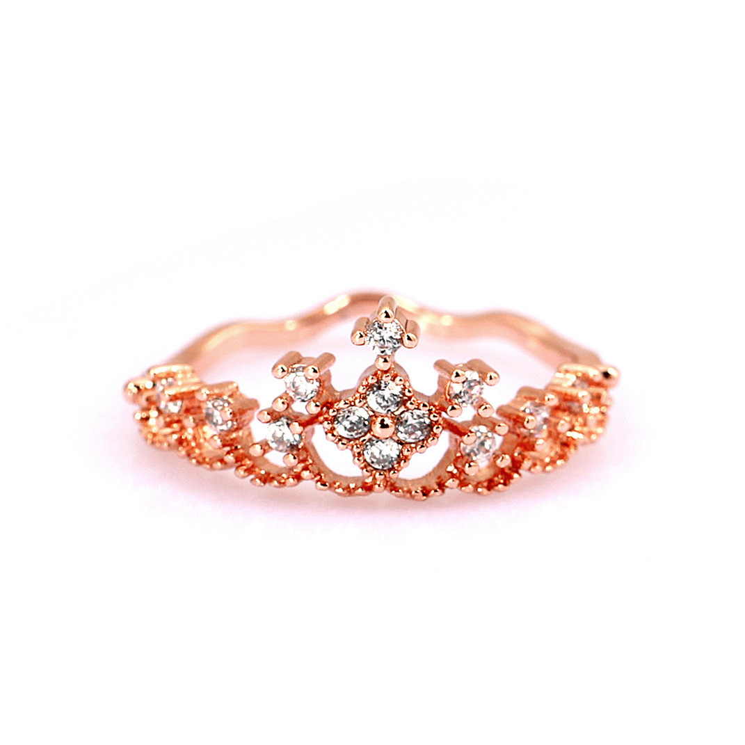 Europe and the United States metal Diamond Ring (Rose gold 8)NHIM0685-Rose gold 8