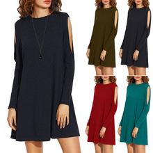 2017欧美新品女装连衣裙 春季ebay亚马逊爆款破肩长袖宽松短裙