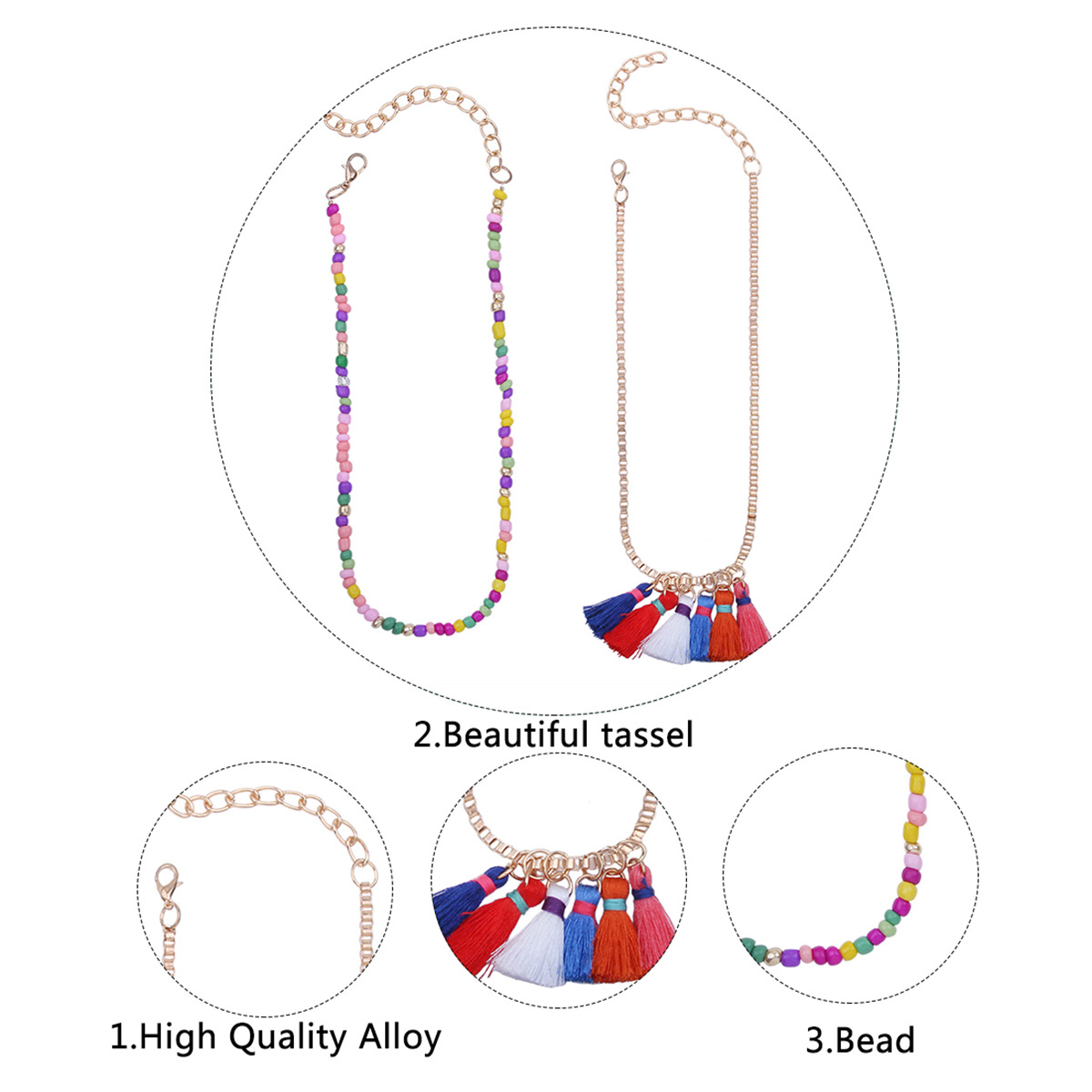 Occident and the United States alloy plating necklace (color)NHNMD3801-color