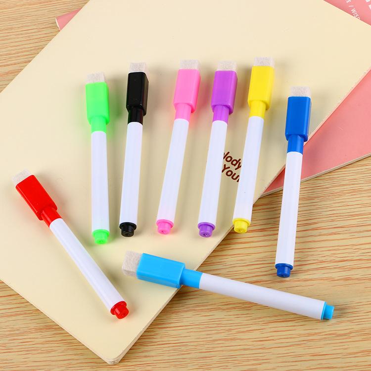 厂家直销彩芯黑芯白板笔创意带刷水性环保小号可擦笔广告LOGO定制