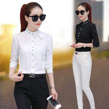 新款镶钻女衬衫长袖韩版立领衬衣修身百搭蝴蝶结领泡泡袖打底衬衫