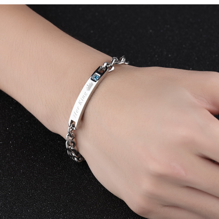 Titanium&Stainless Steel Korea Geometric bracelet  (male) NHOP1657-male