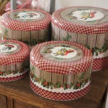 曲奇铁盒出口圆形蔓越莓饼干盒烘焙包装收纳盒宝宝诞生礼盒
