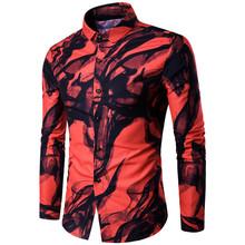 一件代发欧美风加大码男士个性花衬衫数码印花水墨长袖衬衫