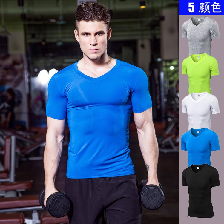 男士V领紧身短袖 PRO健身跑步运动 速卖通热卖速干T恤衣服1118