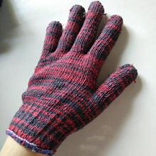 劳保手套 棉纱耐磨10针红花棉线手套700g一打 修车防滑分指手套