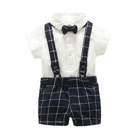 夏季新款童装 童藏蓝格子背带裤绅士领结3件套 满月服宝宝外出服