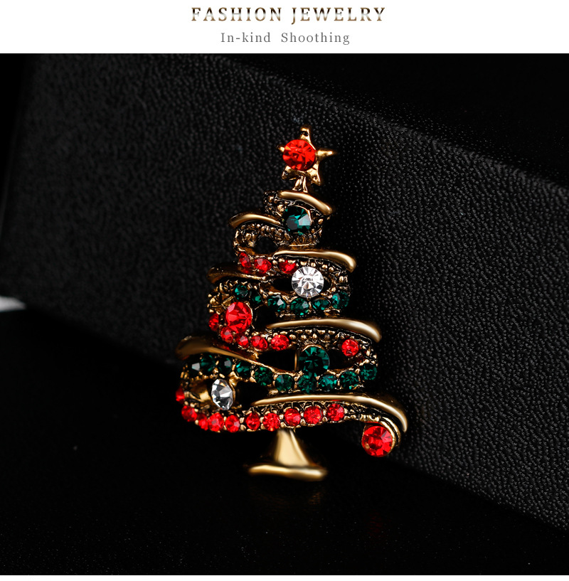 Jewelry fashion rhinestone Christmas tree brooch alloy diamond brooch female NHDR179480