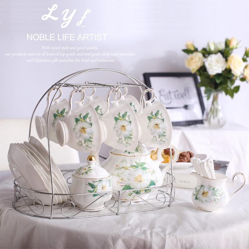 欧式陶瓷杯碟勺送架子15头咖啡具套装创意礼品