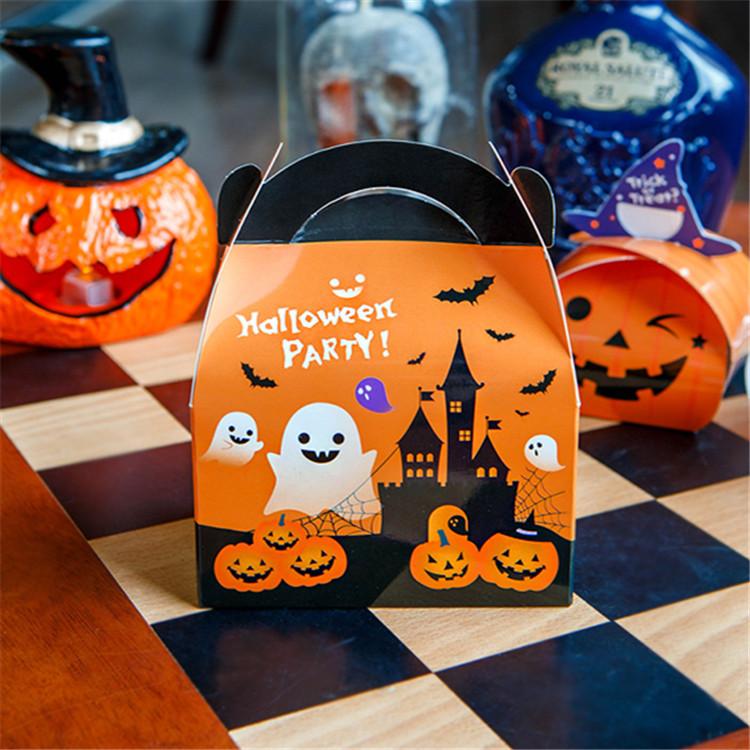 新款万圣节糖果南瓜包装盒 蛋挞饼干袋礼盒手提小纸盒子