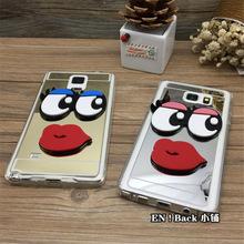 韩国大眼睛note9手机壳镜面p10红嘴唇S8/7edge plus保护套R11 X9