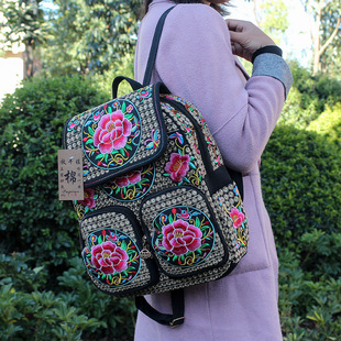 New Yunnan ethnic style embroidery embroidered backpack wholesale thick canvas double outer bag women embroidered bag