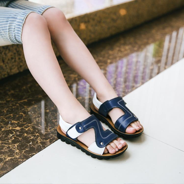 2018夏季新款凉鞋儿童真皮温州童鞋男童魔术贴沙滩鞋厂家一件代发