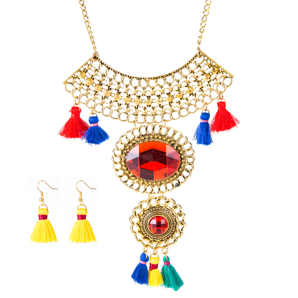 Occident and the United States alloy plating Jewelry Sets (Silver)NHJE0542-Silver