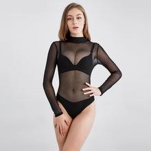 Châu Âu và Hoa Kỳ lưới jumpsuit dài tay nữ Slim quan điểm gợi cảm cám dỗ hộp đêm khiêu vũ biểu diễn áo một mảnh Quần âu nữ