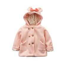 童秋冬新款韓版童裝寶寶加厚米妮雙排扣蝴蝶結連帽外套668