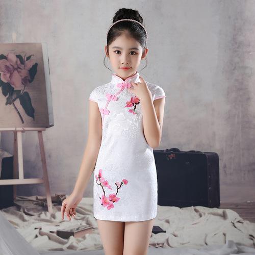 Qipao for kids Girls embroidered cheongsam dress big children Chinese Dress cheongsam children performance dress children cheongsam