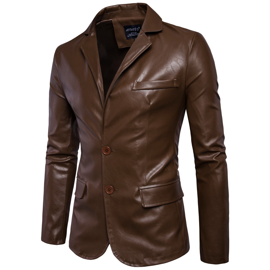 Sumitong men's autumn and winter new style leather coat large motorcycle coat men's Korean slim pure color Lapel leather coat