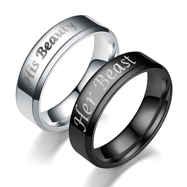 Couple Crown  Hot new bevel Stainless Steel Rings TP190418118109