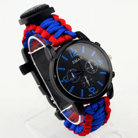 Outdoor travel equipment with compass flint watch hot selling outdoor umbrella rope woven watch