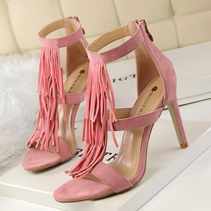 Tassel high heels in Khaki