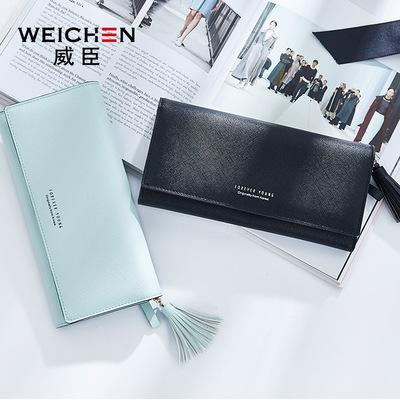 Wesson ví nữ dài thời trang Hàn Quốc tua thẻ công suất lớn ví AliExpress Amazon mô hình nổ