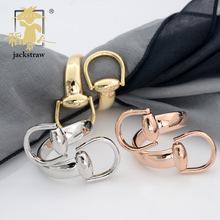 稻草人飾品純銅真金電鍍雙扣頭高品質絲巾扣,高檔保色披肩圍巾扣