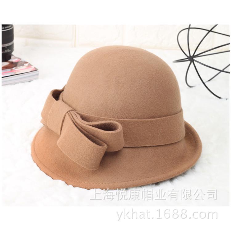 秋冬季大蝴蝶结纯羊毛帽子女士圆顶卷边小礼帽女款英伦复古毡帽潮