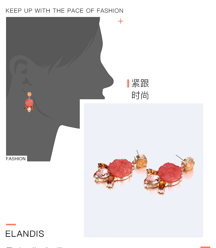 Occident and the United States alloy Inlaid gemstones earring (Golden pink)NHNTF1251-Golden pink