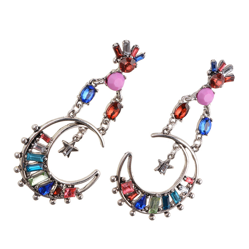 flowers alloy Inlaid gemstones earring (color)NHWF2867-color