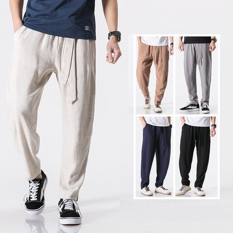 Men's spring new large national style small leg pants linen pants men's loose solid color large cotton hemp casual pants