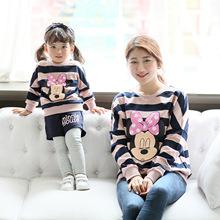 新款抓绒保暖童套装条纹拼色卡通字母印花童卫衣家庭装韩版亲子装