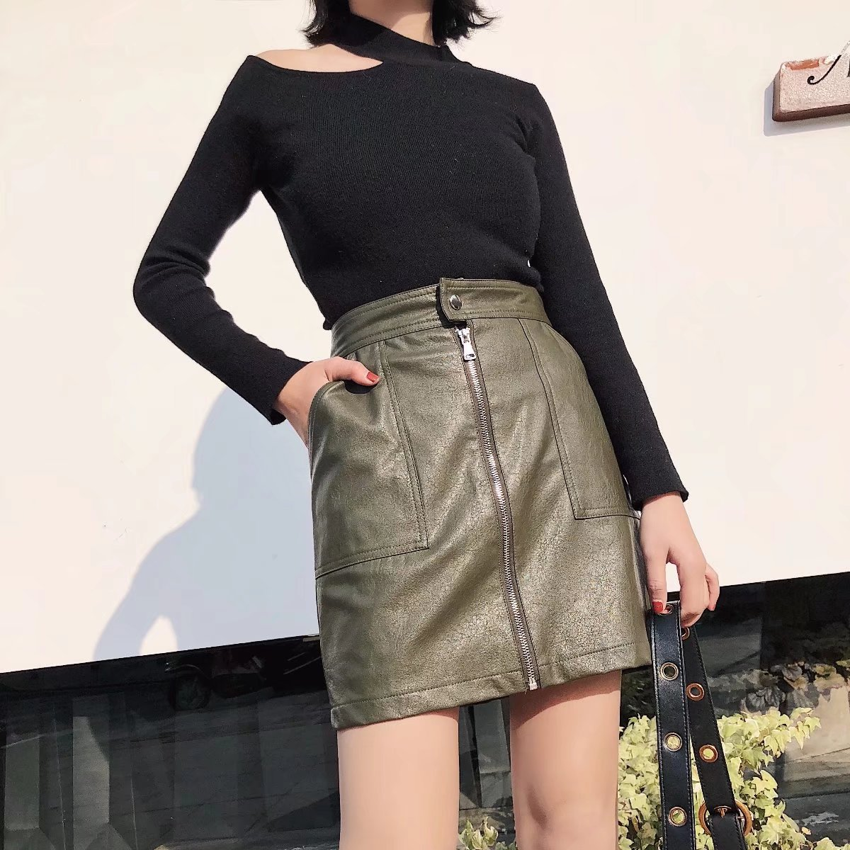 Sexy & Party PU  skirt  (Picture color -S)  NHAM1448-Picture color -S